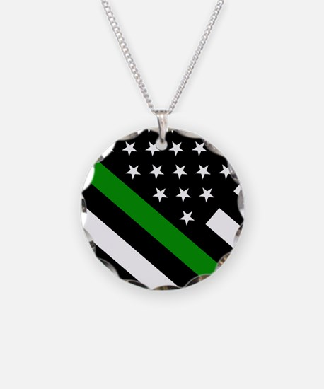 U.S. Flag: Thin Green Line Necklace
