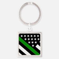 U.S. Flag: Thin Green Line Square Keychain