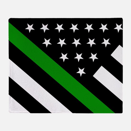 U.S. Flag: Thin Green Line Throw Blanket