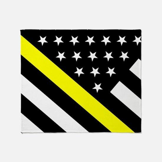 U.S. Flag: Thin Yellow Line Throw Blanket