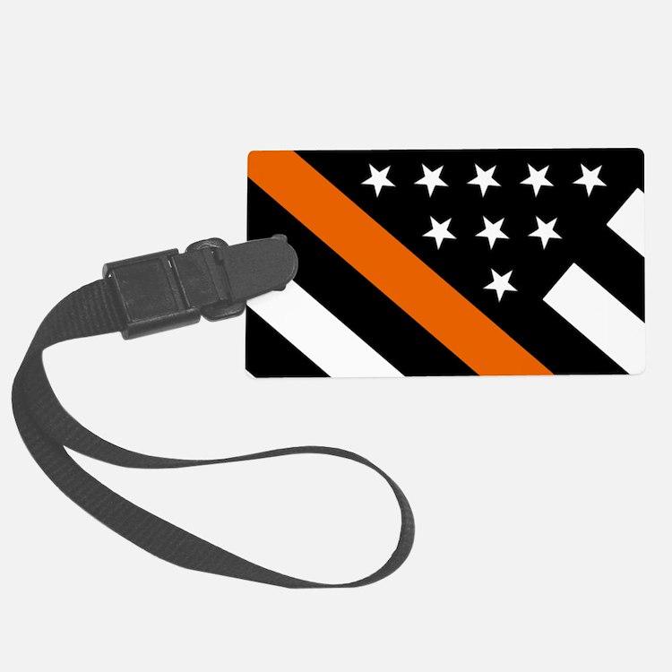 U.S. Flag: The Thin Orange Line Luggage Tag