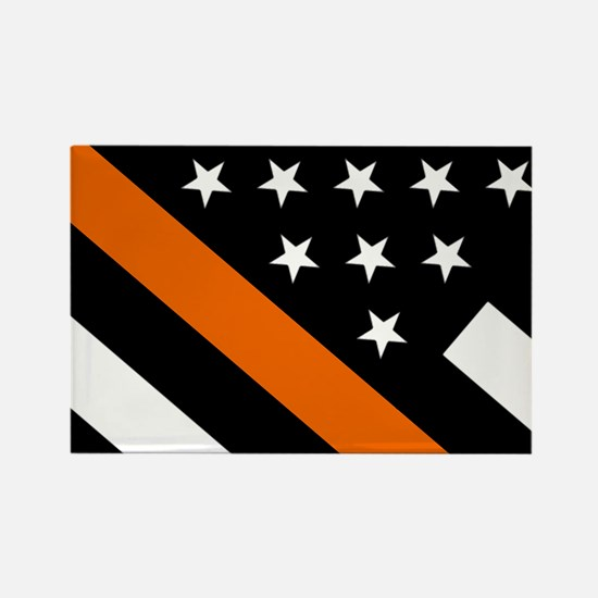 U.S. Flag: The Thin Orange Line Rectangle Magnet