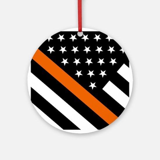 U.S. Flag: The Thin Orange Line Round Ornament