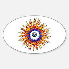 Fiery Flame Eyeball Tattoo Oval Decal