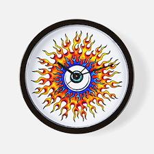 Fiery Flame Eyeball Tattoo Wall Clock