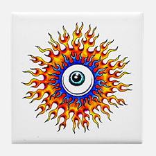 Fiery Flame Eyeball Tattoo Tile Coaster