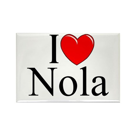 """I Love (Heart) Nola"" Rectangle Magnet"