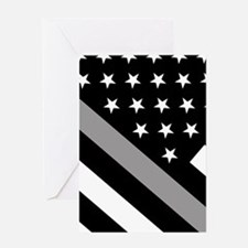 U.S. Flag: The Thin Grey Line Greeting Card