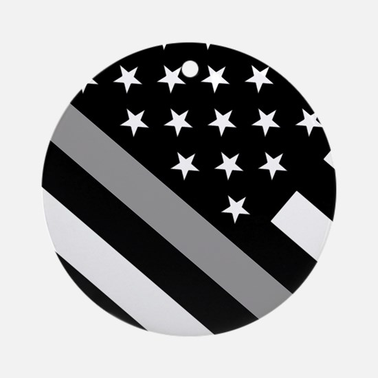 U.S. Flag: The Thin Grey Line Round Ornament