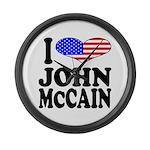 I Love John McCain Large Wall Clock