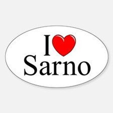 """I Love (Heart) Sarno"" Oval Decal"