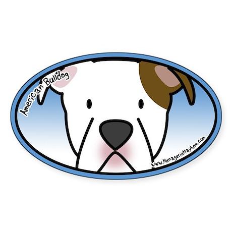 Anime American Bulldog Oval Sticker