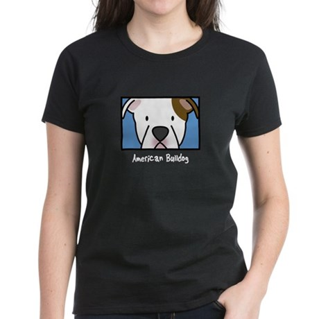 Anime American Bulldog Women's Black Tee (Wht Txt)