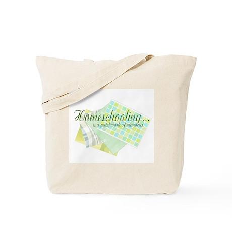 Homeschooling Green Patchwork Tote Bag