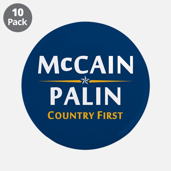 """Country First - McCain Palin 3.5"""" Button (10"""