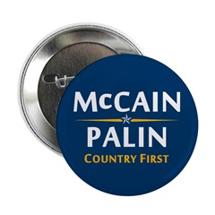 """Country First - McCain Palin 2.25"""" Button (10"""