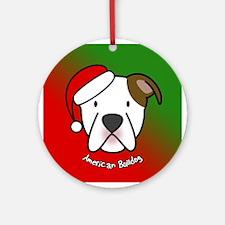 Cartoon American Bulldog Christmas Ornament