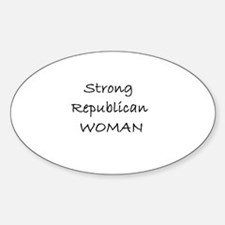 Strong Republican Woman Oval Decal