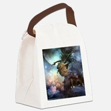 Awesome flying eagle in the night Canvas Lunch Bag