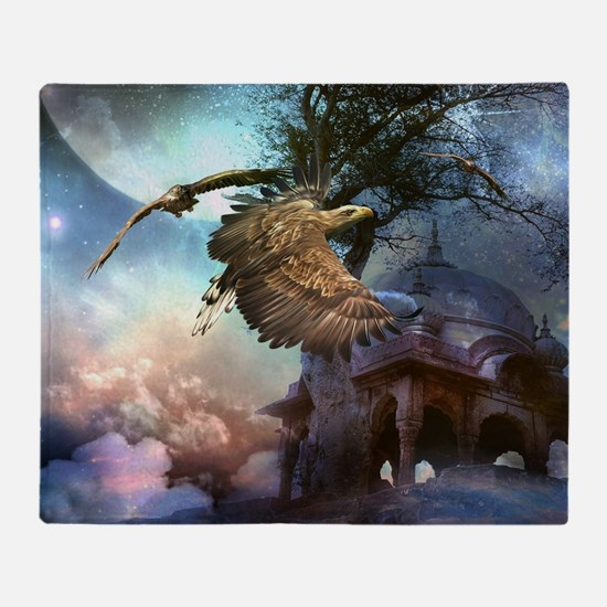 Awesome flying eagle in the night Throw Blanket