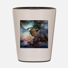 Awesome flying eagle in the night Shot Glass