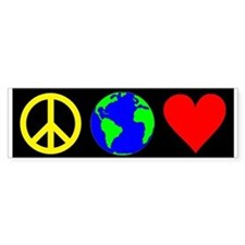 Peace Planet Love Bumper Car Sticker