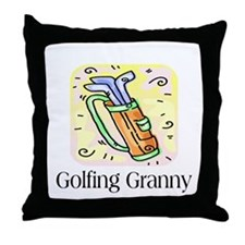 Golfing Granny Throw Pillow