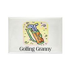 Golfing Granny Rectangle Magnet