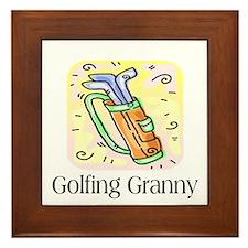 Golfing Granny Framed Tile