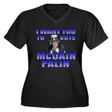 McCain Palin Uncle Sam Women's Plus Size V-Neck Da