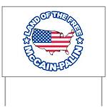 McCain Palin Land of the Free Yard Sign