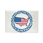McCain Palin Land of the Free Rectangle Magnet (10