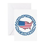 McCain Palin Land of the Free Greeting Cards (Pk o