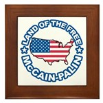 McCain Palin Land of the Free Framed Tile