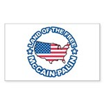 McCain Palin Land of the Free Rectangle Sticker