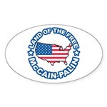 McCain Palin Land of the Free Oval Sticker