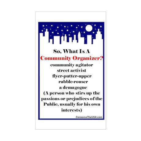 """Community Organizer?"" Sticker (Rectangl"