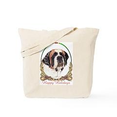 St Bernard Holiday Tote Bag