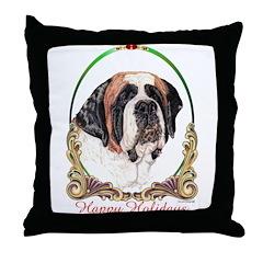 St Bernard Holiday Throw Pillow