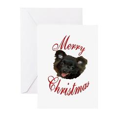 Christmas Black Pomeranian Greeting Cards (Pk of 2