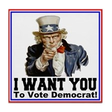 To Vote Democrat Tile Coaster