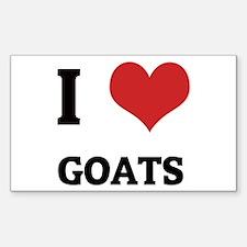 I Love Goats Rectangle Decal