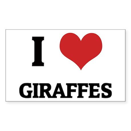 I Love Giraffes Rectangle Sticker
