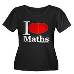 I Love Maths Women's Plus Size Scoop Neck Dark T-S