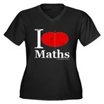 I Love Maths Women's Plus Size V-Neck Dark T-Shirt