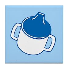 Cute Blue Sip Cup Tile Coaster