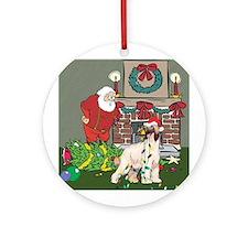 Santa's Helper Afghan Hound Ornament (Round)