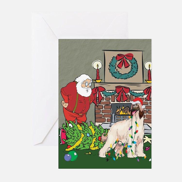 Santa's Helper Afghan Hound Greeting Cards (Pk of