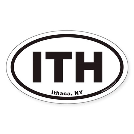 Ithaca New York ITH Euro Oval Sticker