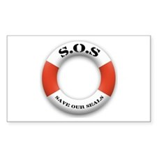 S.O.S. Save Our Seals Rectangle Decal
